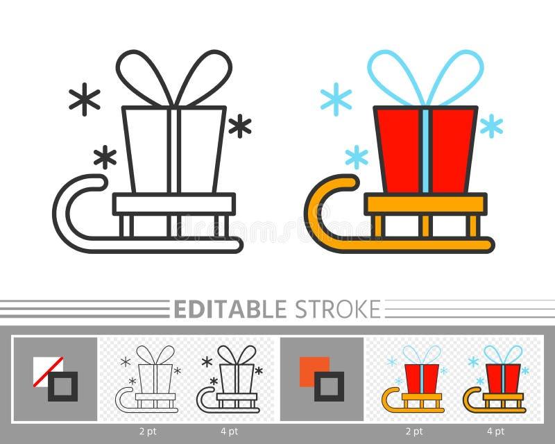 Actual entrega de la caja de regalo de santa en la línea icono del trineo libre illustration