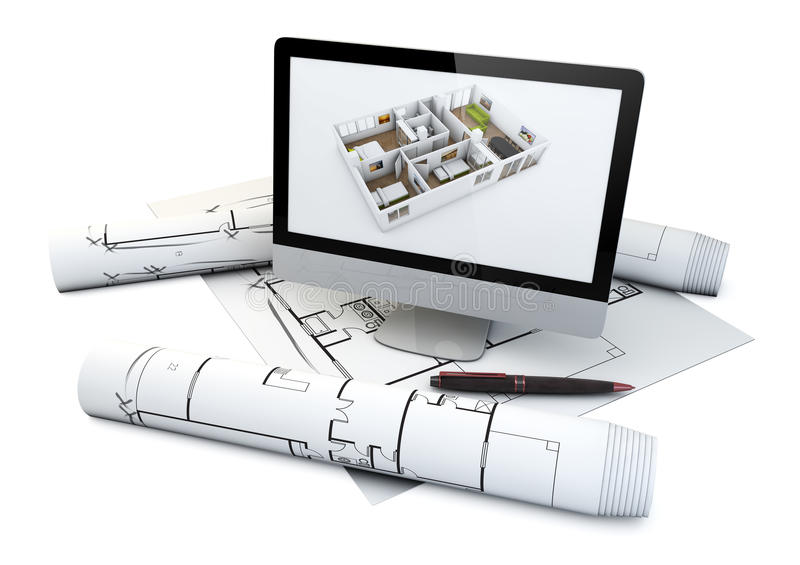 Actual house design concept. Actual flat design concept: computer with a house plan on the screen over plots and architecture draws isolated on white royalty free illustration