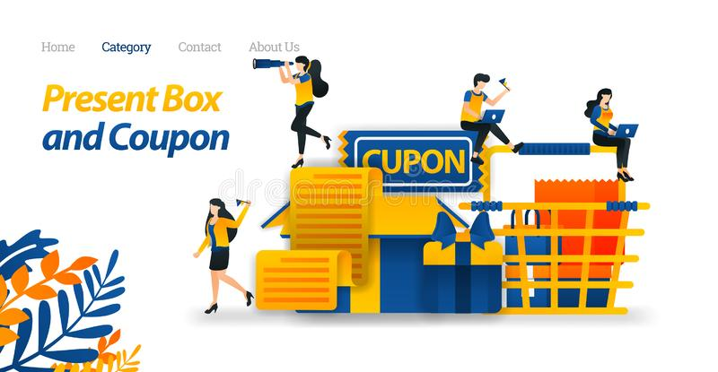 Actuales diseños de la caja con los diversos accesorios, vales del regalo y carro de la compra Ejemplo del vector, anuncio conven stock de ilustración