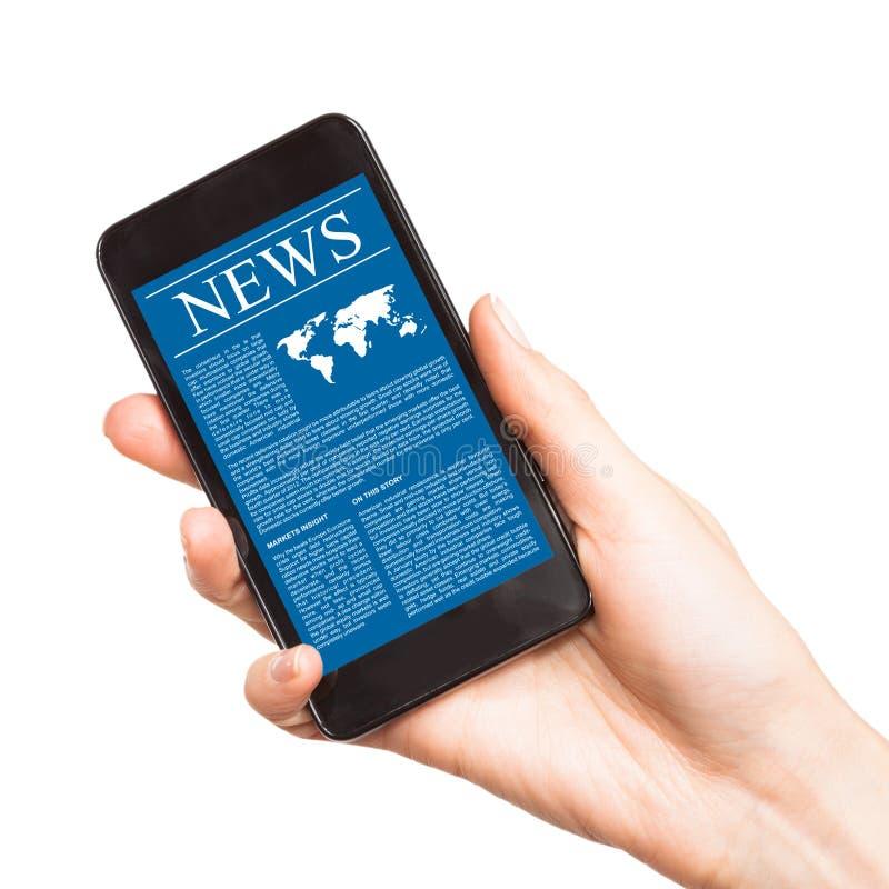 Actualités au téléphone portable, téléphone intelligent. images stock