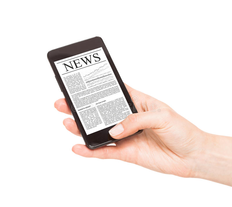 Actualités au téléphone portable, téléphone intelligent. photo libre de droits