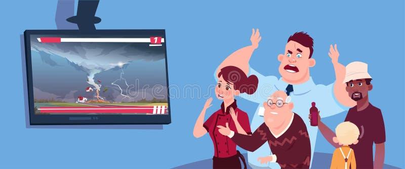 Actualités de observation effrayées de personnes au sujet de tordre l'ouragan de tornade dans la trombe de tempête des Etats-Unis illustration stock