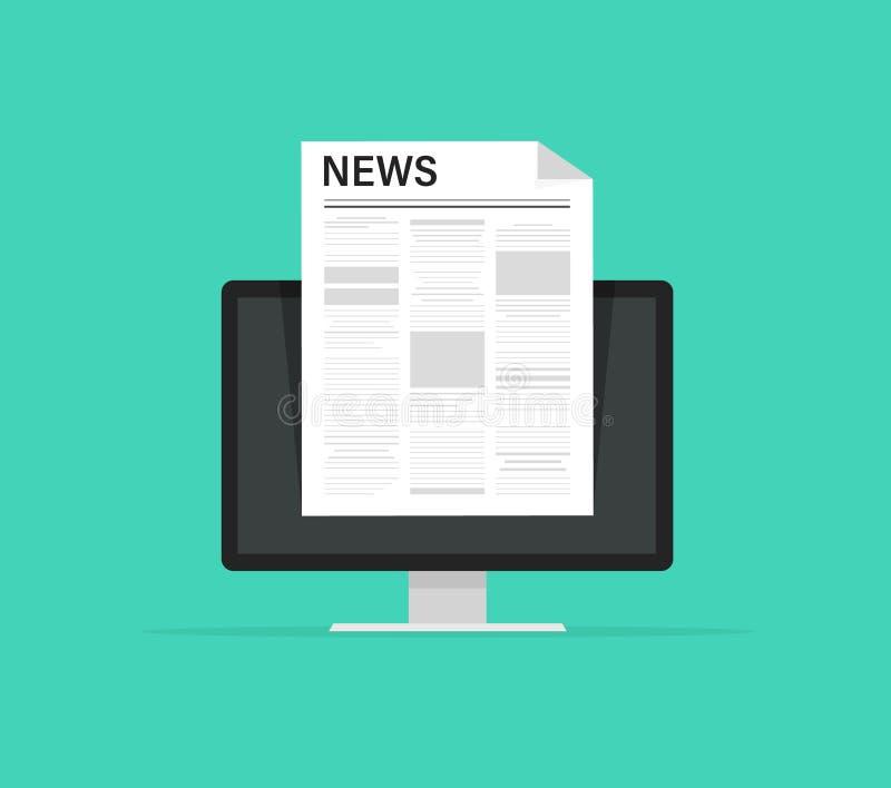Actualités en ligne sur le journal d'Internet Illustration de vecteur de site Web de l'information illustration de vecteur