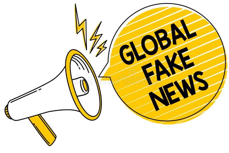 Actualités globales des textes d'écriture fausses Le concept signifiant le canular faux de désinformation de mensonges de journal illustration de vecteur