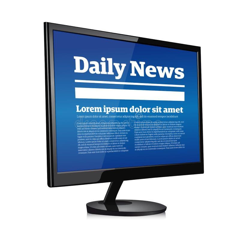Actualités quotidiennes sur l'écran de PC illustration stock