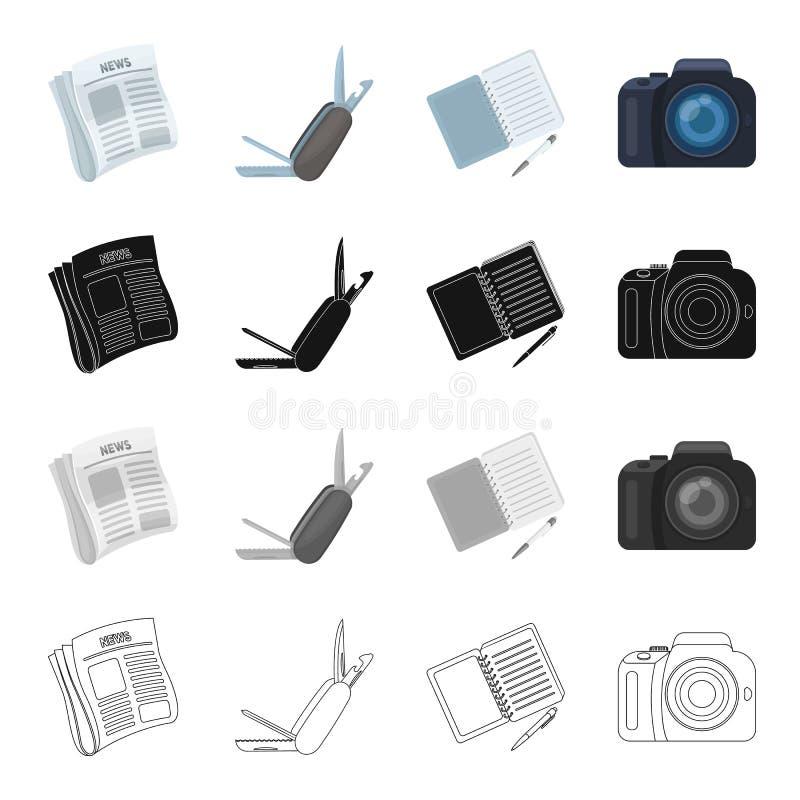Actualités révélatrices dans le journal, le couteau se pliant, le carnet et le stylo, appareil-photo Icônes réglées de collection illustration de vecteur