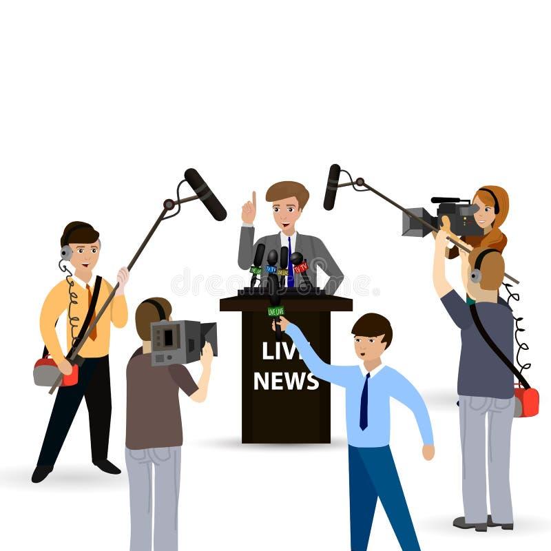 Actualités vivantes de concept, rapports, entrevues illustration de vecteur