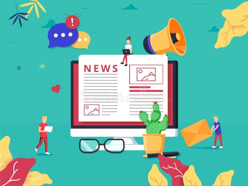 Actualización en línea de las noticias en el periódico de Internet Ejemplo plano del sitio web de la información Página web perso ilustración del vector