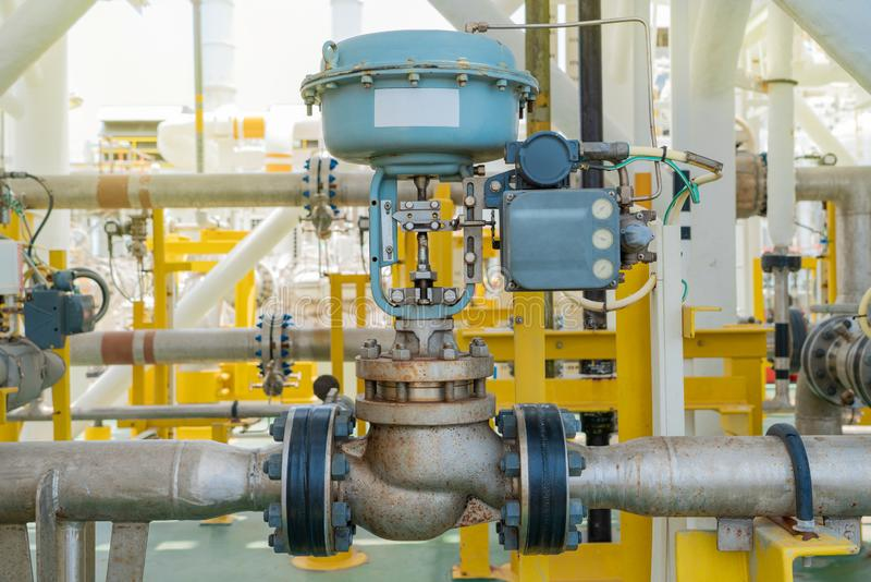Actuated control valve fail to open type and valve positioner control by programmable logic controller PLC. Actuated control valve fail to open type and valve royalty free stock images