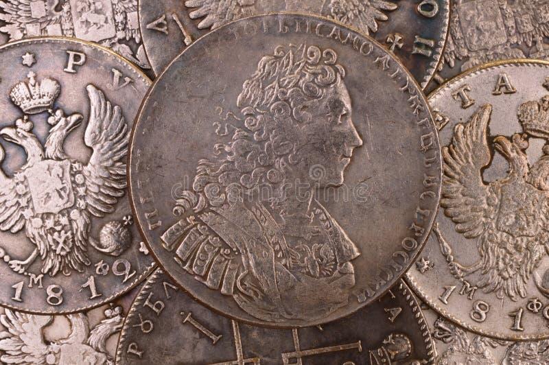 Acuña al autócrata de plata 1729 de Peter II del emperador de Rusia de la rublo del fondo de toda la Rusia foto de archivo