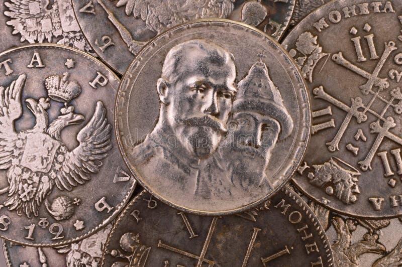 Acuña la rublo de plata Rusia del fondo 1913 trescientos años de aniversario de la dinastía de Romanov fotografía de archivo