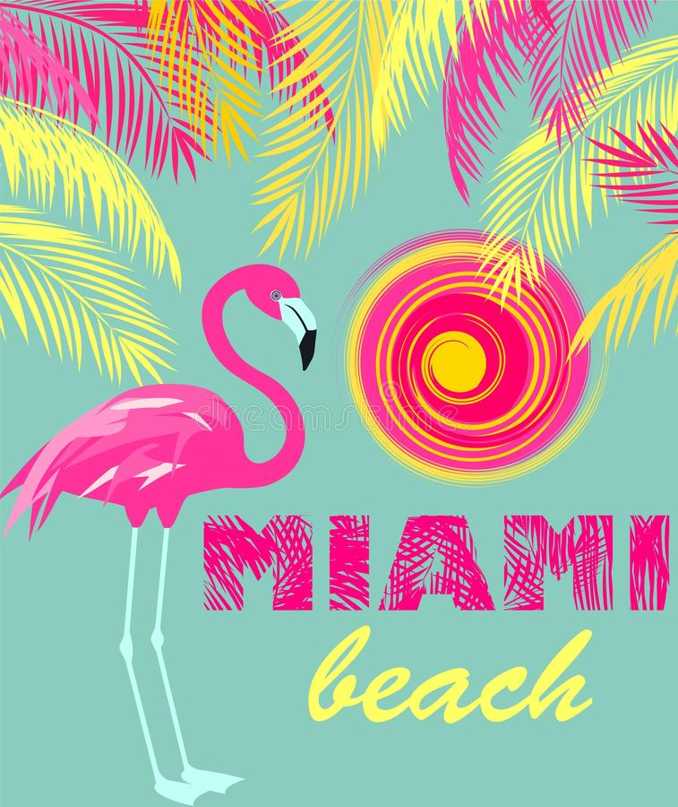 Acuñe el cartel del color con las letras de Miami Beach, sol, las hojas de palma rosadas y amarillas y flamenco Estilo del art dé ilustración del vector