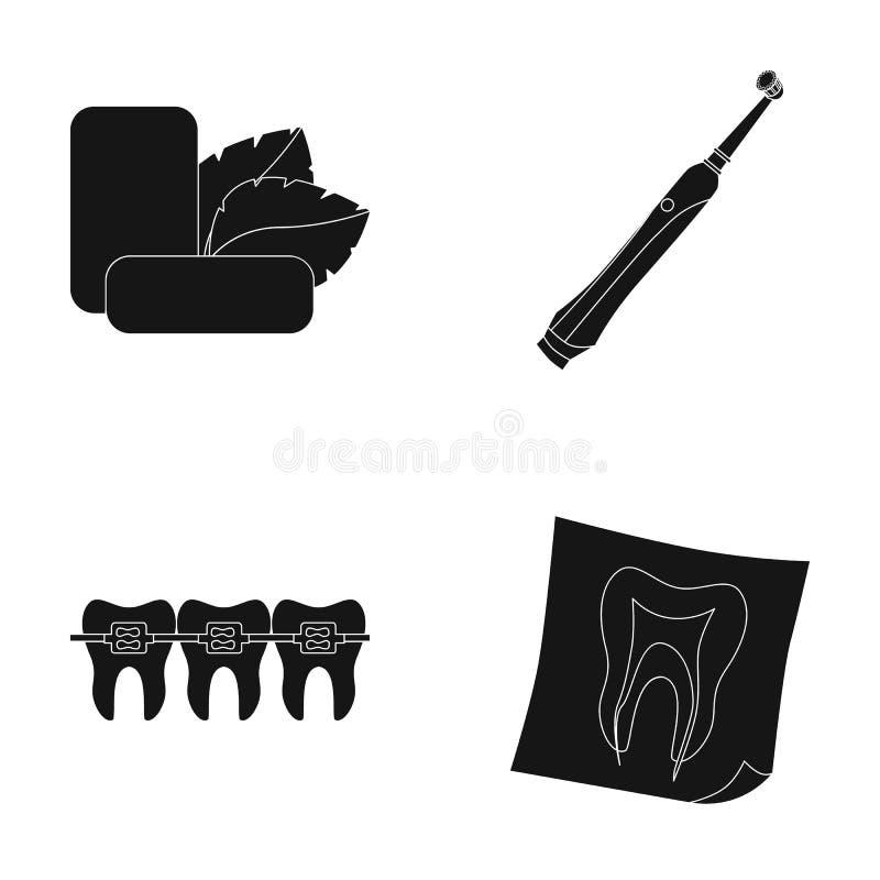 Acuñe el chicle con las hojas de menta, cepillo de dientes con las cerdas, bregettes con los dientes, radiografía del diente Sist stock de ilustración