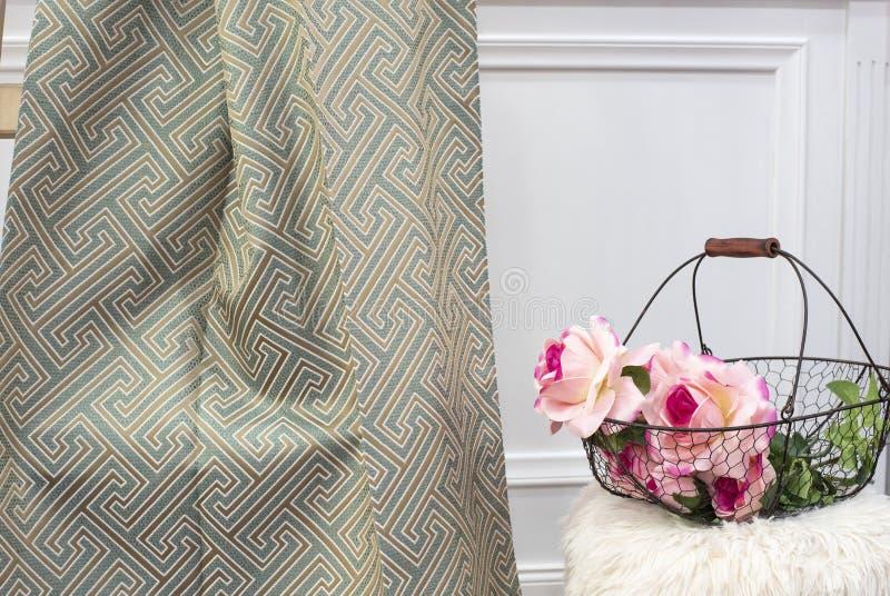Acuñe la muestra de la tela de la cortina Tapicer?a de las cortinas, de Tulle y de los muebles fotos de archivo libres de regalías