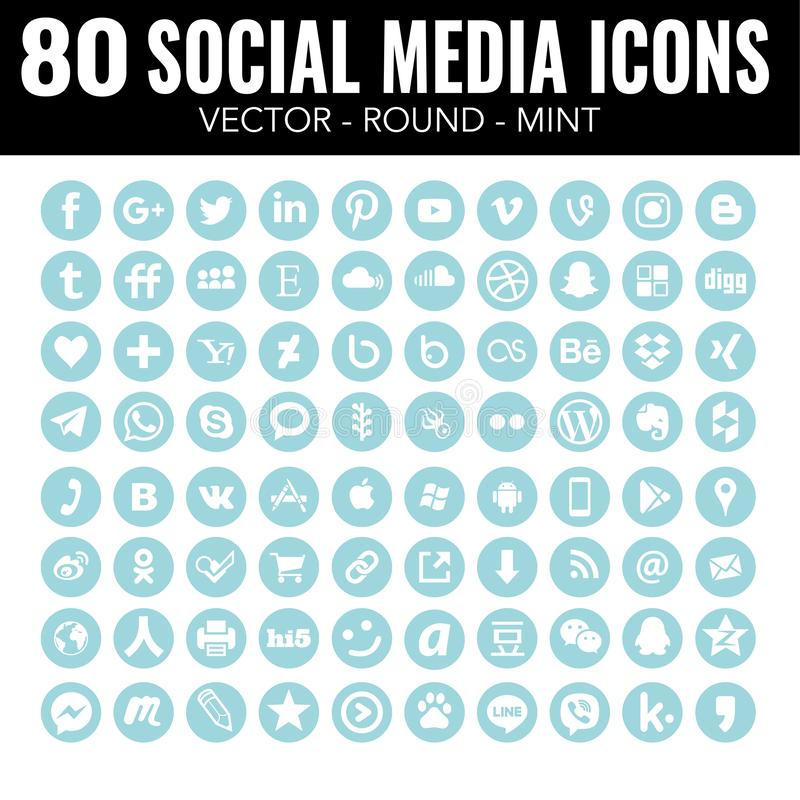 Acuñe los iconos sociales de los medios - para el diseño web y el diseño gráfico stock de ilustración
