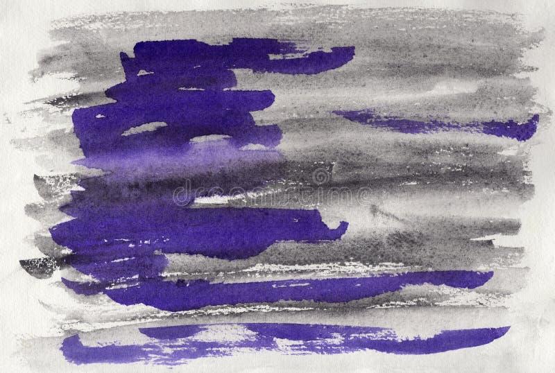 Acuarela abstracta en el papel Grafito y violeta del fondo stock de ilustración