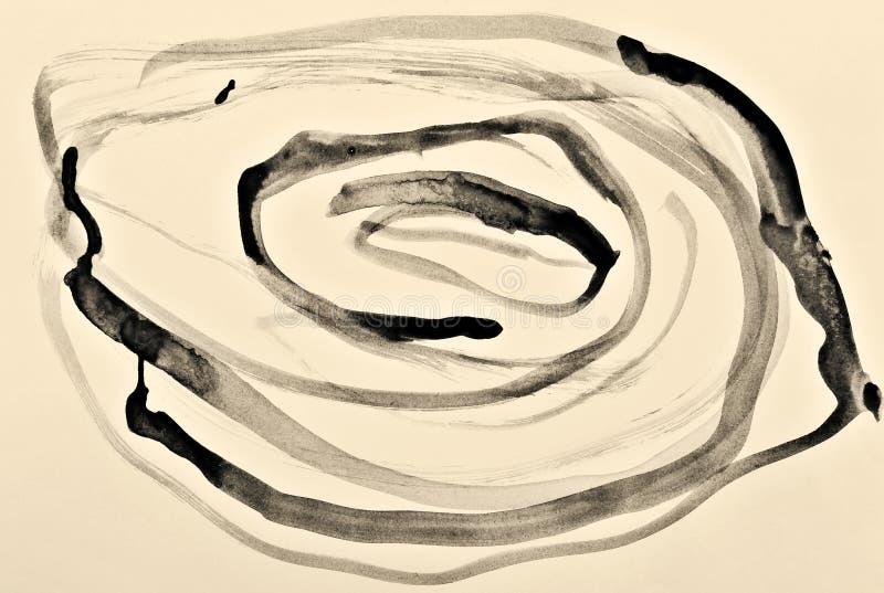 Acuarela abstracta en la textura de papel como fondo En la sepia entonada Estilo retro stock de ilustración