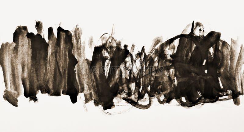 Acuarela abstracta en la textura de papel como fondo En tonelada de la sepia fotos de archivo