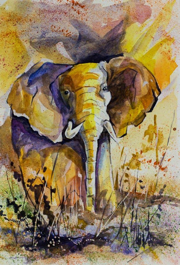 Acuarela amarilla del elefante ilustración del vector