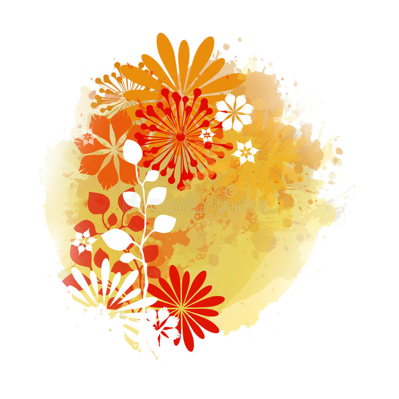 Acuarela Autumn Abstract Background stock de ilustración