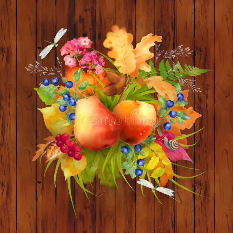 Acuarela Autumn Composition fotos de archivo