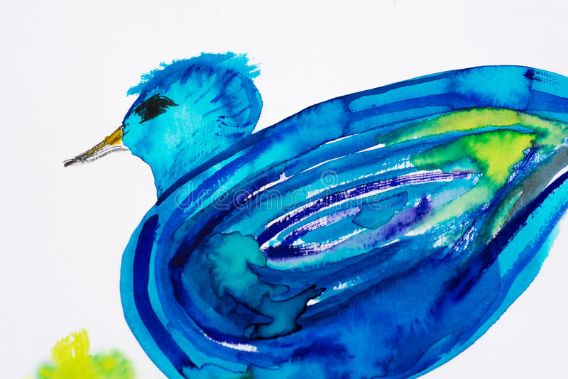 Acuarela azul del pájaro fotografía de archivo libre de regalías