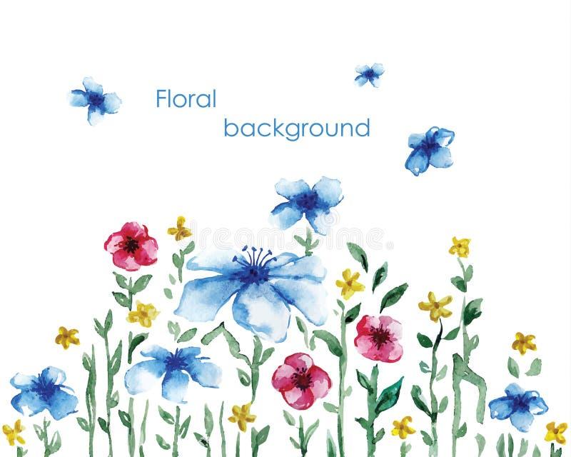 Acuarela azul del prado del diente de león del campo de los matorrales stock de ilustración