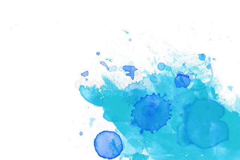 Acuarela azul en blanco   ilustración del vector