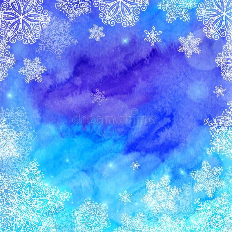 Acuarela azul pintada invierno de la Navidad stock de ilustración