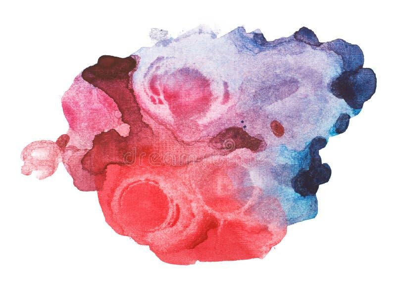 Acuarela azul roja abstracta, mano del arte de la acuarela ilustración del vector