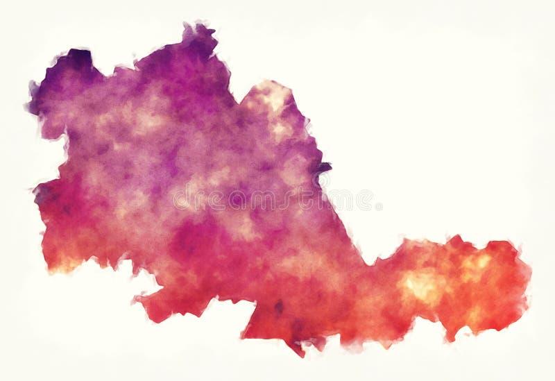Acuarela BRITÁNICA de Inglaterra del mapa metropolitano del condado de West Midlands en f stock de ilustración