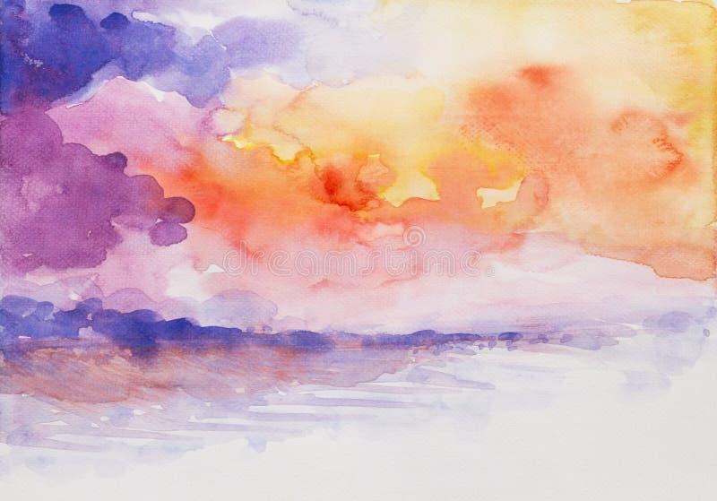 Acuarela colorida del paisaje marino de la puesta del sol pintada libre illustration