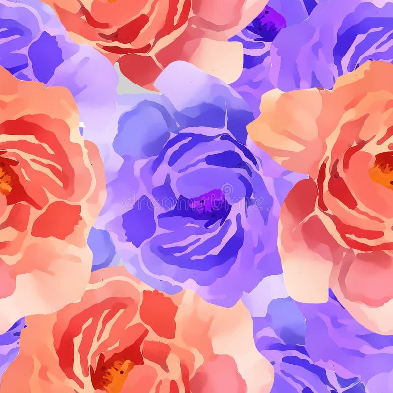 Acuarela colorida hermosa Rose Floral Seamless Pattern Background Ejemplo elegante con las flores rosadas y amarillas ilustración del vector