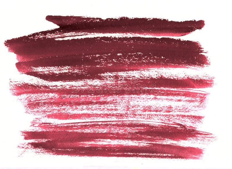 Acuarela de Borgoña del vino de las rayas en el fondo blanco El color s fotografía de archivo