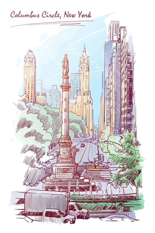Acuarela de Columbus Circle stock de ilustración
