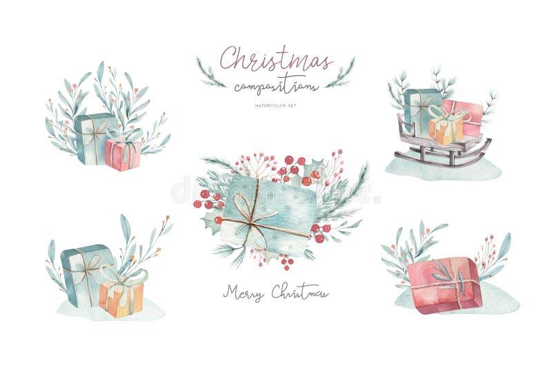 Acuarela de la Feliz Navidad fijada con los elementos florales Cajas de regalo de la Feliz Año Nuevo, copos de nieve, bayas y árb foto de archivo