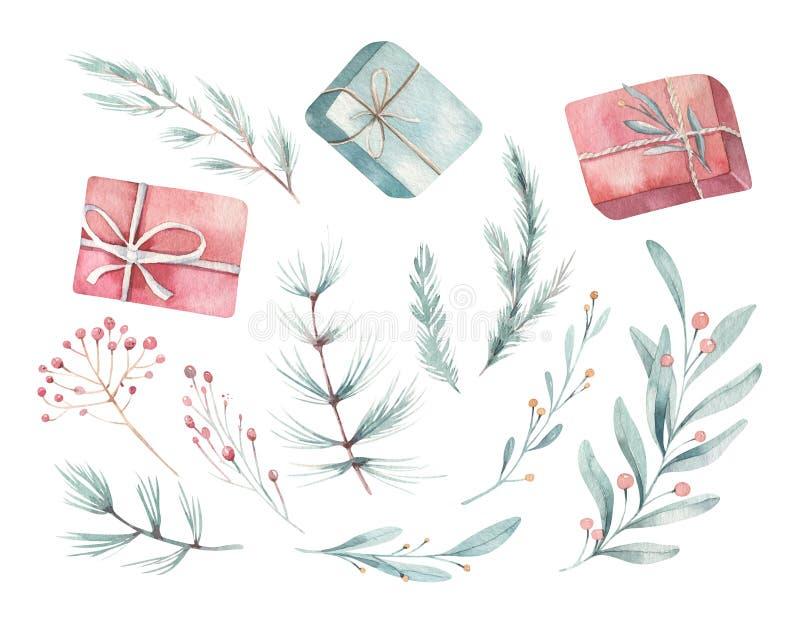 Acuarela de la Feliz Navidad fijada con los elementos florales Cajas de regalo de la Feliz Año Nuevo, copos de nieve, bayas y árb imagen de archivo libre de regalías