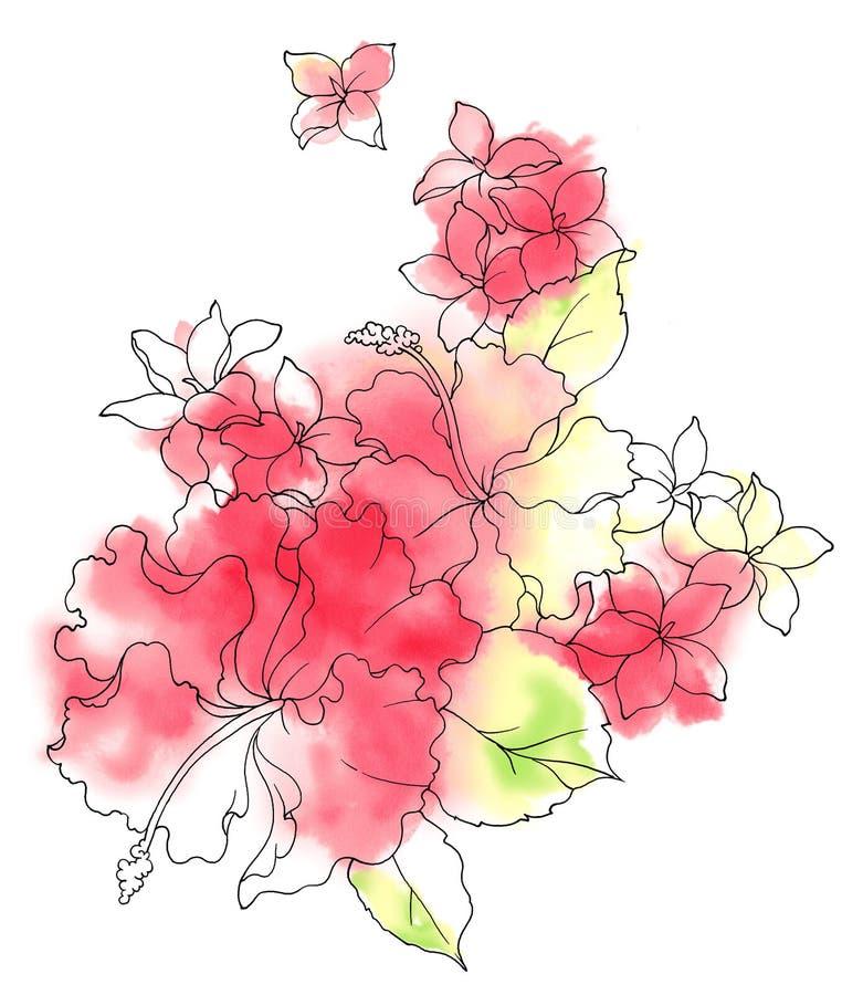 Acuarela de la flor stock de ilustración