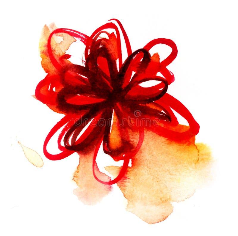 Acuarela de la flor roja ilustración del vector