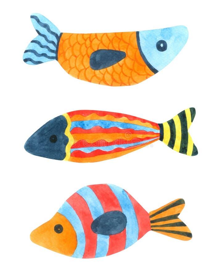 Acuarela de la historieta de los pescados en el fondo blanco, carácter exhausto para los niños, tarjeta de la mano de la historie ilustración del vector
