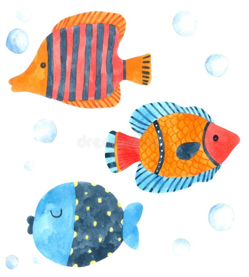 Acuarela de la historieta de los pescados en el fondo blanco, carácter exhausto para los niños, tarjeta de la mano de la historie libre illustration