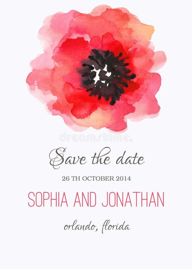 Acuarela de la invitación de la boda con las flores ilustración del vector