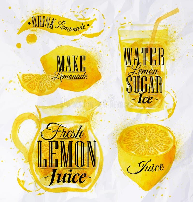Acuarela de la limonada stock de ilustración
