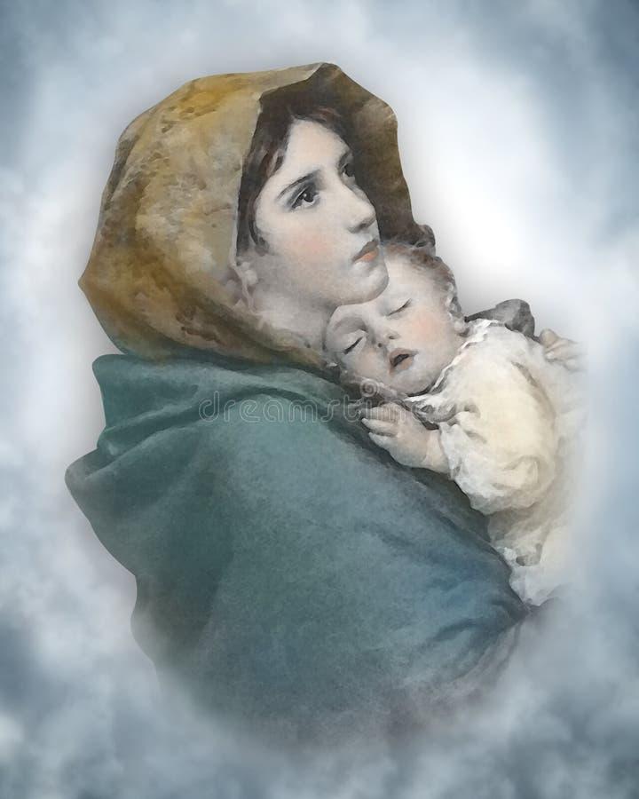 Acuarela de la natividad de Madonna y del niño ilustración del vector