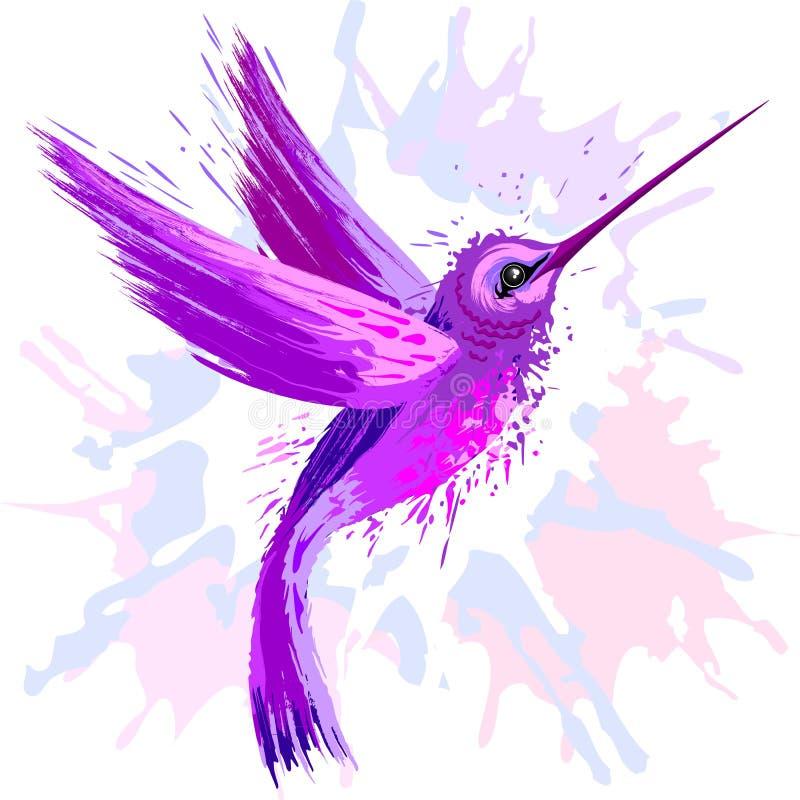 Acuarela de la púrpura del alcohol del colibrí ilustración del vector