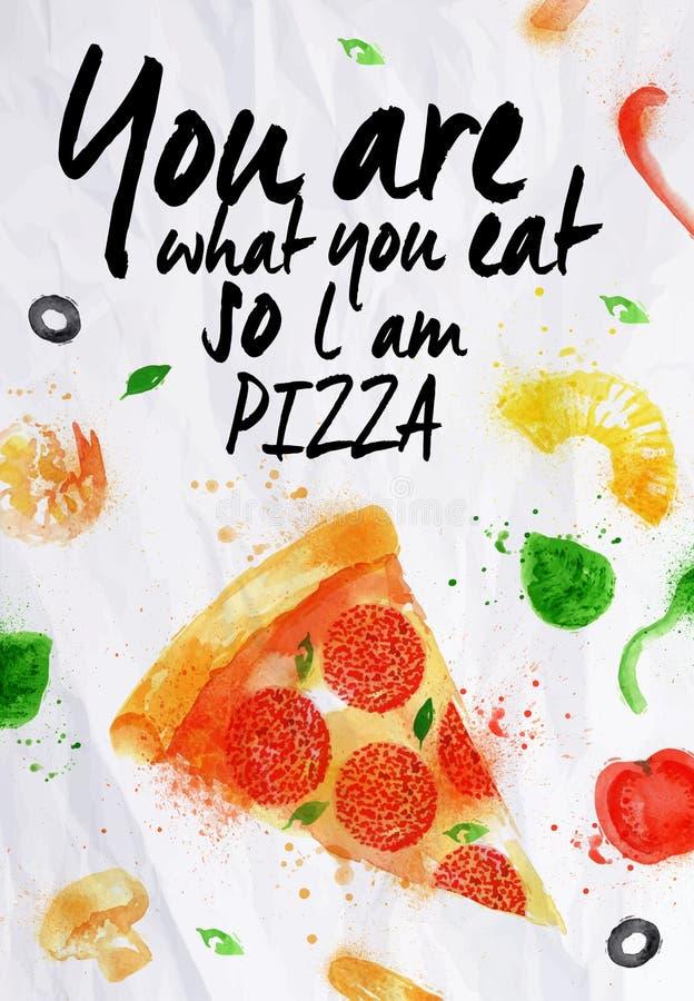 Acuarela de la pizza usted es lo que usted come así que l  ilustración del vector