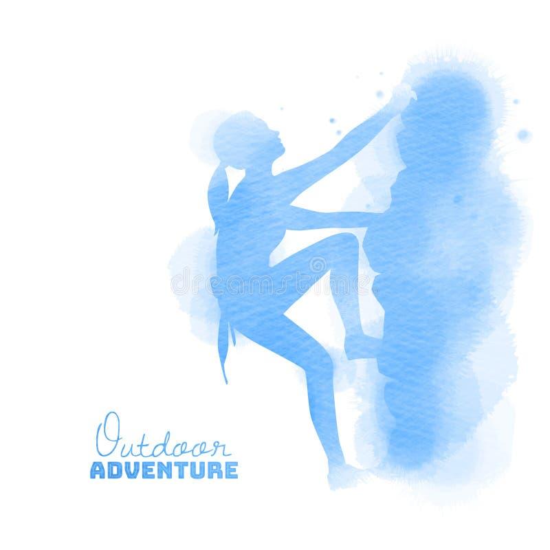 Acuarela de la vista lateral del escalador de roca de la mujer joven Concepto al aire libre de la aventura stock de ilustración