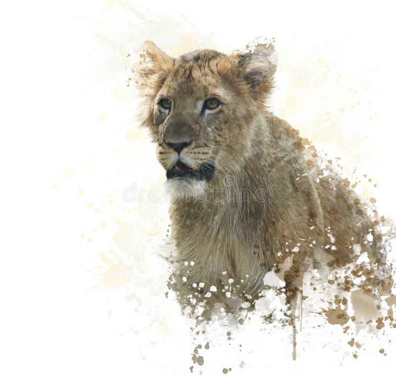 Acuarela de Lion Cub stock de ilustración