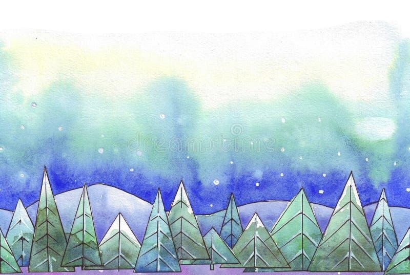 acuarela de los abetos del invierno libre illustration