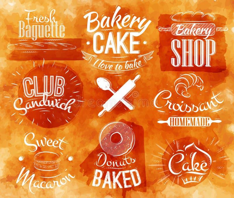 Acuarela de los caracteres de la panadería ilustración del vector